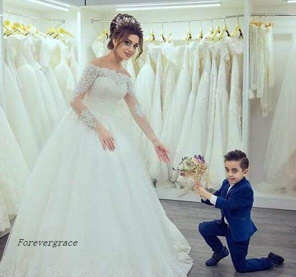Discount 2017 Luxury Gorgeous Elegant Boat Neck Wedding Dress Lace ...