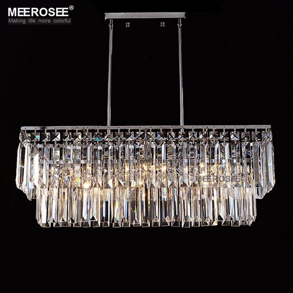 Modern Chandelier Crystal Light Fitting Rectangle Hanging Lamp for Dining room Lustres Home Lighting Luminaire