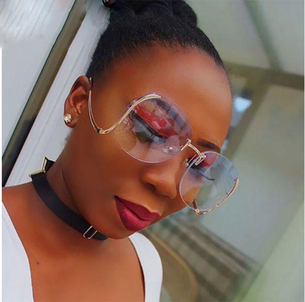 Yeni Çerçevesiz Degrade Moda Güneş Kadınlar Büyük Boy Şeffaf Lens Optik Metal Çerçeve UV400 Vintage Güneş Gözlükleri Retro Gözlük VE040