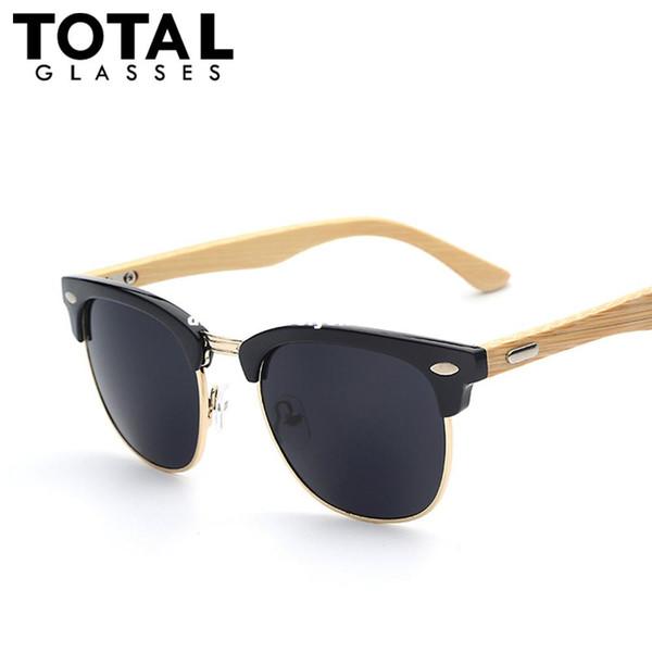 Totalglasses Half Metal Bamboo Sunglasses Men Women Brand Designer Glasses Mirror Sun Glasses Fashion Gafas Oculos De Sol UV400