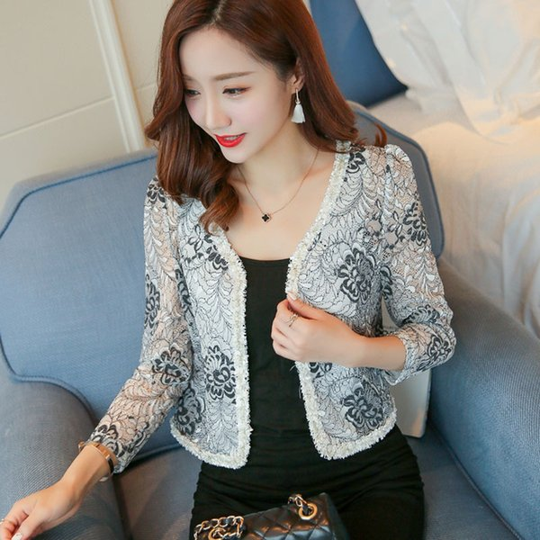2017 new women's fashion summer autumn sunscreen lace floral pattern long sleeve o-neck short coat cardigan cape plus size SMLXLXXL3XL