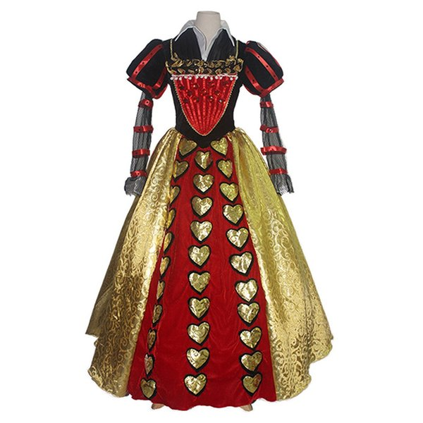 Malidaike Movie Figure Women's Dress Set for Alice in Wonderland Red Queen of Hearts Cosplay