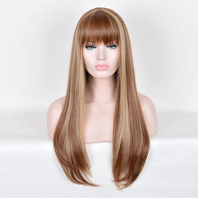 Free Shipping>>> new Blonde Highlights on Brown Hair Long Natural Straight Wig