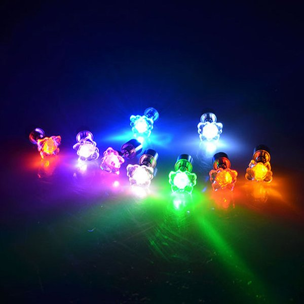 Wholesale- 1 Pair Light Up LED earrings Studs Flashing Blinking Stainless Steel Earrings Studs Dance Party Accessories H7