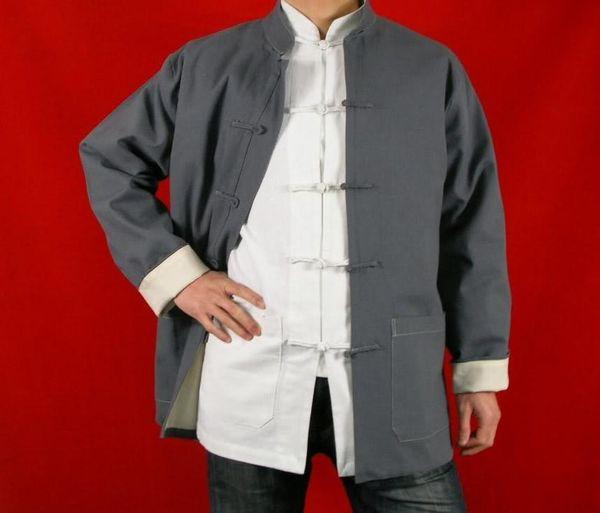 Cappotto per giacca Tai Chi Kung Fu in pregiata pelle di lino grigia, XS XL o su misura