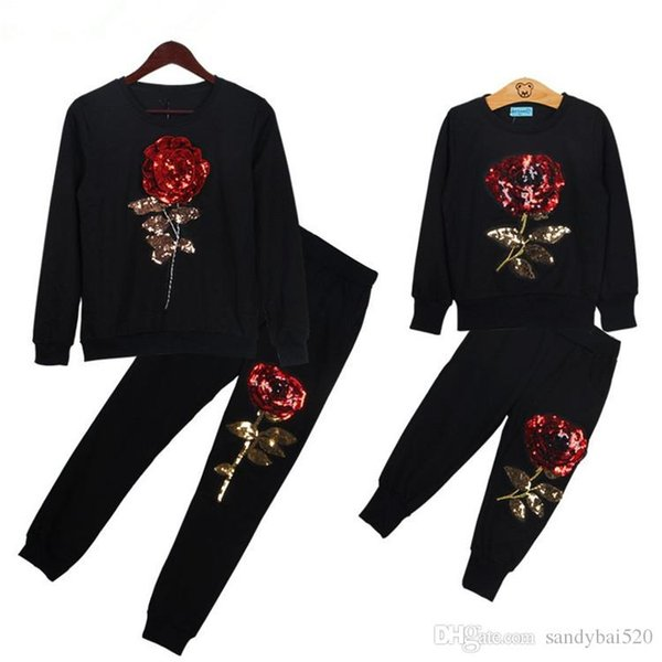 best selling Mother And Daughter Sequins Sets 2019 New Spring Style Long Sleeve Rose Floral Sweatshirt+Pants 2Pcs Suit Family Matching Outfits Clothes