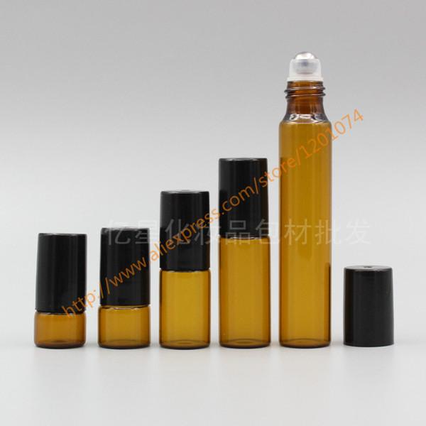 Botella de vidrio marrón al por mayor- 1 ml / 2 ml / 3 ml / 5 ml / 10 ml (cuello largo) Con rodillo de acero inoxidable + tapa de plástico negro, botella roll-on / perfume / desodorante