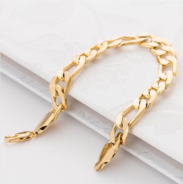 Huge wide figaro gold bracelet men 12mm 21cm 18K Real Gold Plated big thick chain bracelet men Jewelry