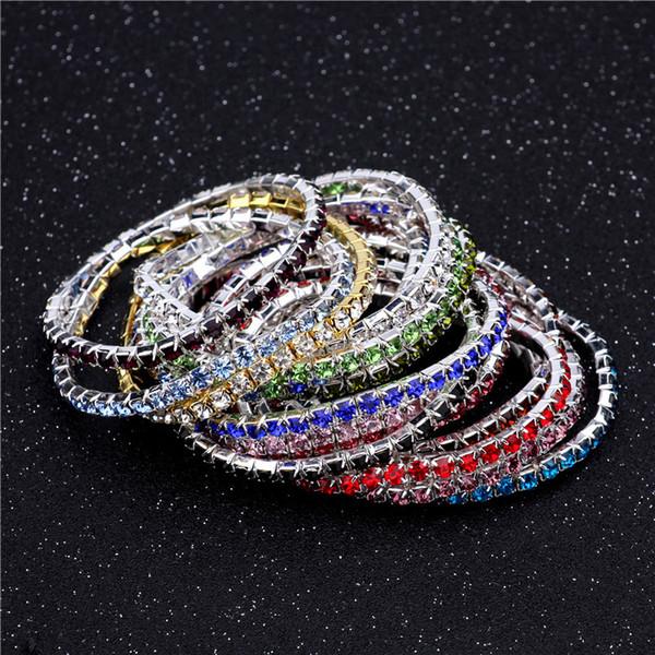 3.6mm 1 Satır Taklidi Kristal Bilezik Streç Bilezik Bileklik Manşetleri Kadınlar için Düğün Takı Hediye 16 Renkler K2335