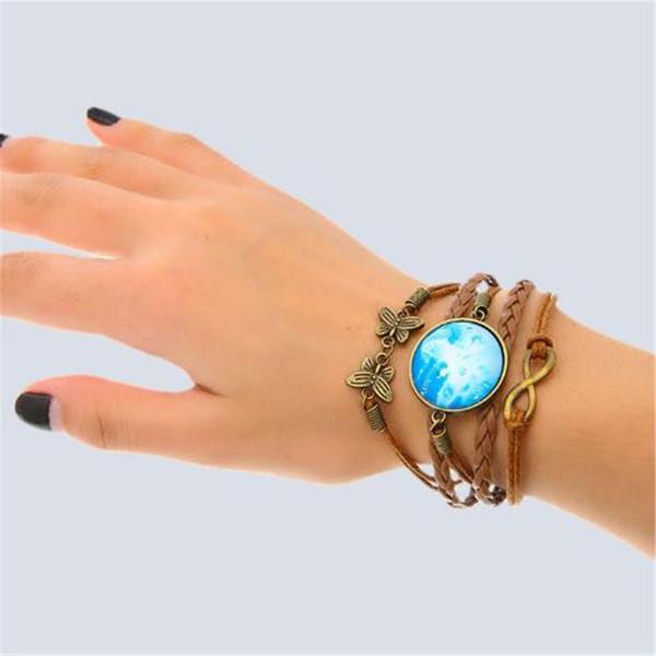 Vendita calda braccialetto di fascino in pelle fai da te all'ingrosso moda braccialetti in pelle cavo braccialetti in pelle nera chiusura per le donne acc262