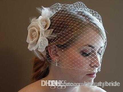 Bello stile di modo degli accessori di cerimonia nuziale dei cappelli da sposa dei cappelli del fodero nuziale del fiore del Birdcage bianco / dell'avorio Trasporto libero