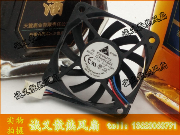 Wholesale- Free Shipping Delta EFB0612HA 6010 DC 12V 0.18A 6CM 60mm 3 -pin computer pc case cpu server inverter cooling fans axial blower