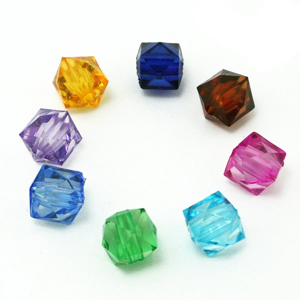 Various Colours Faceted Cubes 10mm 10 x Transparent Acrylic Beads