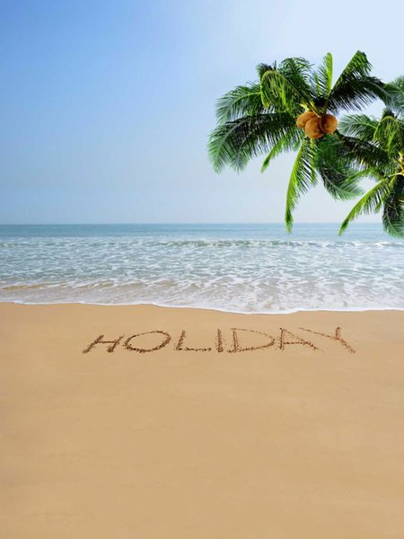 Summer Holiday Sandy Beach Photographic Backgrounds for Studio Coconut Tree Family Photo Shooting Back Drops Vinyl Cloth