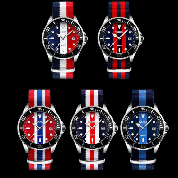 SKMEI Brand Men Quartz Watch 30M Waterproof Nylon Strap Fashion Auto Date Watches Hot Male Clock Wristwatches Masculino Relojes 9133