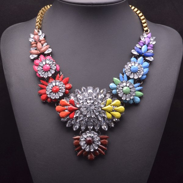 Fashion 15 Colors optional NEW shourouk luxurious water-drop resin crystal flower bridal jewelry statement necklace for women