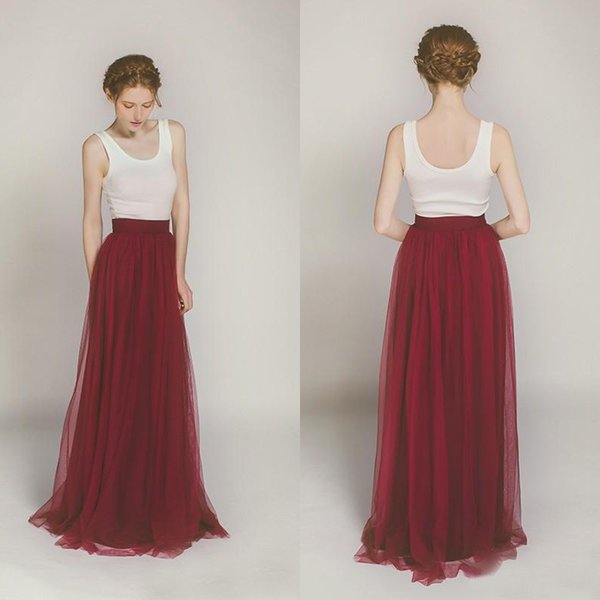 2017 Dark Red Dusty Blue Tulle Country Bridesmaid Dresses Long Cheap Scoop White Top Floor Length Bohemian Maid Of Honor Gown EN3301