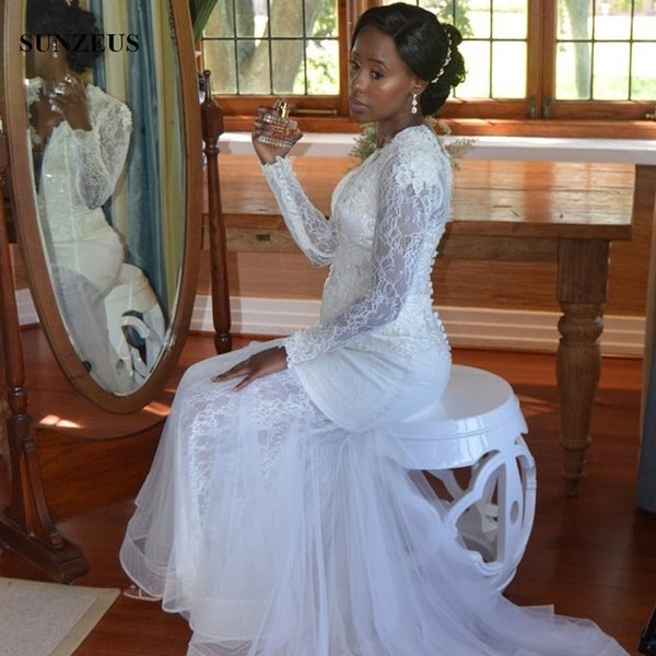Dantel Uzun Kollu Gelinlik Mermaid Aplikler Ile Derin V Yaka Gelin Önlükler Afrika Kadınlar Evlilik Elbise Ücretsiz Kargo