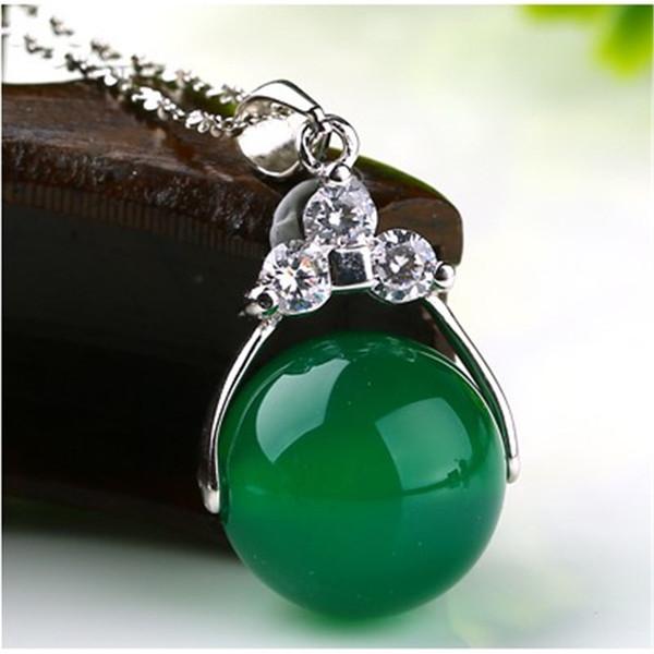 free shipping Natural chalcedony transport bead chain pendant female jade inlay zircon fashionable joker woman necklace