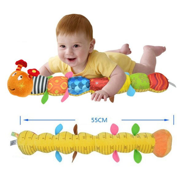 Wholesale- 2017 New Baby Toy Musical Caterpillar Rattle Ring Bell Cartoon Animal Plush Doll Early Educational Soft Crib Newborn Infant