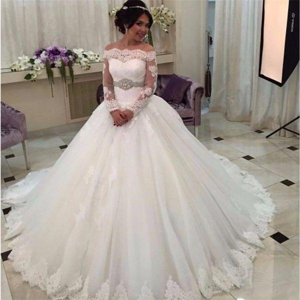 best selling Saudi Arabia Off the Shoulder Ball Gowns Weeding Dress Luxury Long Sleeve Wedding Dresses Lace Bride Dress Beading Belt
