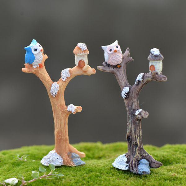 2pcs Owl Branch Figurines Resin Crafts Small Forest Fairy Garden Miniatures Bonsai Tools terrarium Dollhouse Zakka Home Decor Accessories