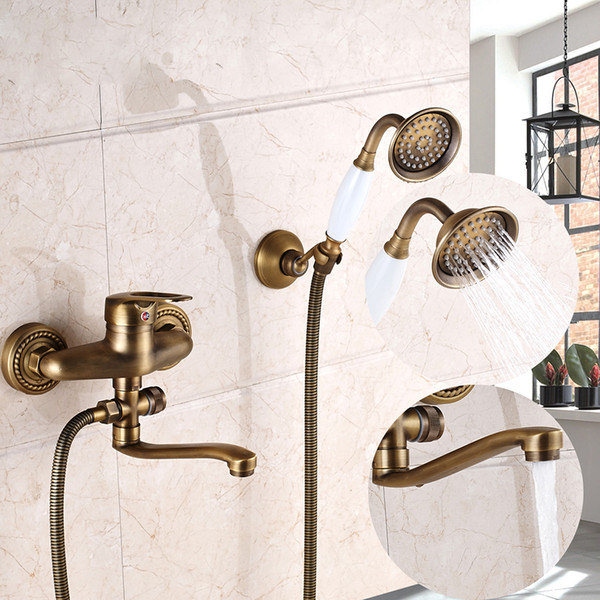 Antique Brass Wall Mount Shower Faucet Mixer Tap White New ABS Handle Bathtub spout New