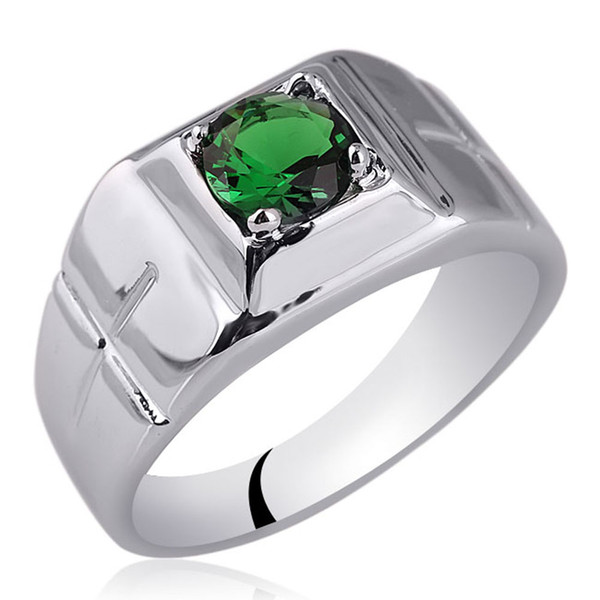 Männer massiv Sterling Silber Ring 6,0 mm Runde simuliert grün Smaragd Schmuck Kreuz schnitzen auf Band kann Birthstone R508GE