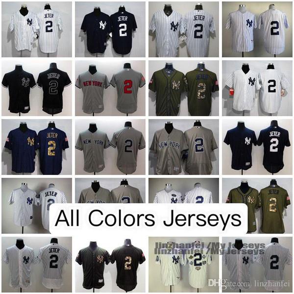 new arrivals dcd38 ecad1 2019 Derek Jeter New York Yankees Jerseys Home Road Alternate Jerseys USA  Flag Stars Stripes,2017 Spring Training,Flex&Cool Base/Fashion Jersey From  ...