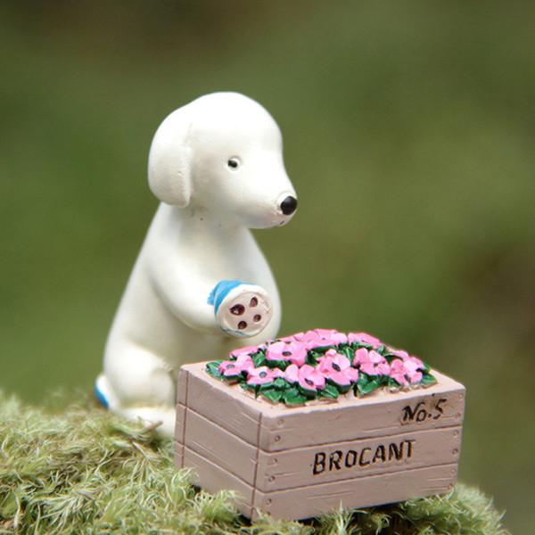 Puppy irrigazione rose miniature cane fata giardino gnome moss terrario arredamento resina artigianato bonsai home decor per casa delle bambole fai da te