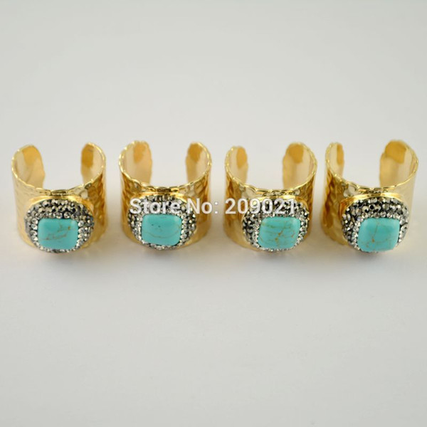 Finding ~ Gold Pave Rhinestone Turquoise Stone Rings Jewelry For Women 5pcs