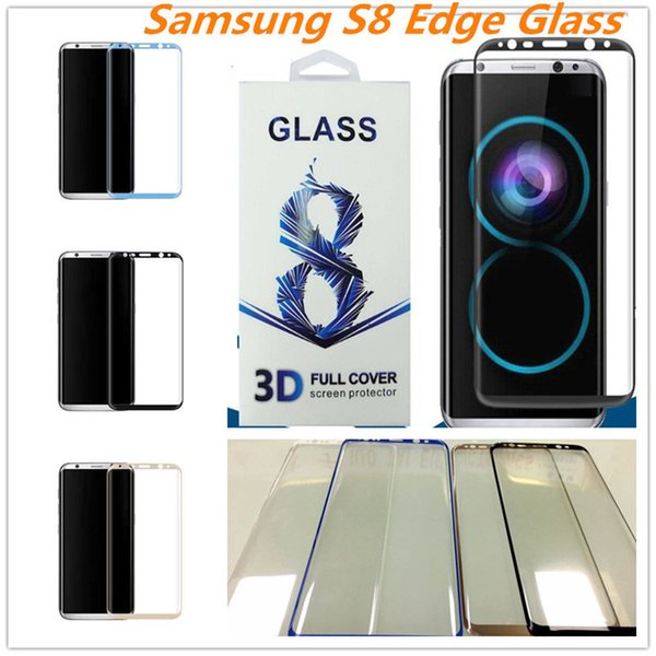 NEW Galaxy S8 Plus S6 edge plus Tempered Glass full screen color clear protector 3D 4D Curved Side S7 Edge Full Cover With Package