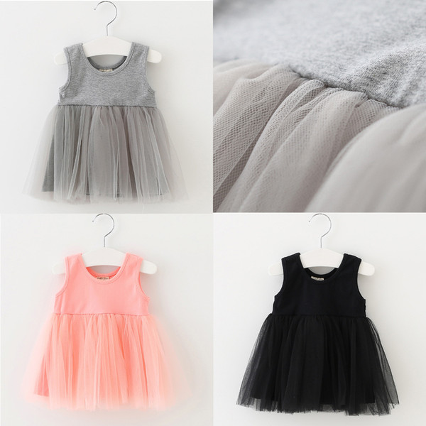 Baby Kids Clothing 2018 Summer vintage Flower girls dresses children Casual Solid Cotton Ball gowns princess party dress toddler clothes #68
