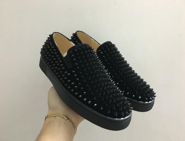 drop shipping new casual luxury designer red bottom loafers for men high genuine leather slip on platform casual sneakers spikes weddin, Black