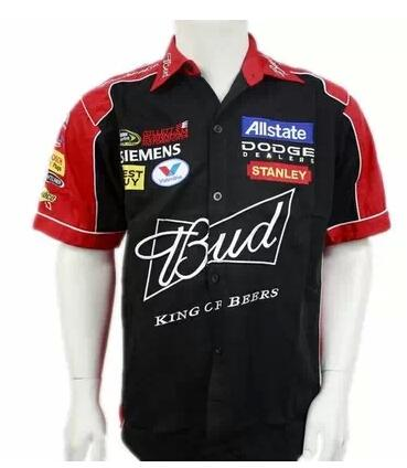 top popular NEW 2017 brand men F1 suit shirt casual summer club team budweiser car overalls off road shirts motocross jacket 2021