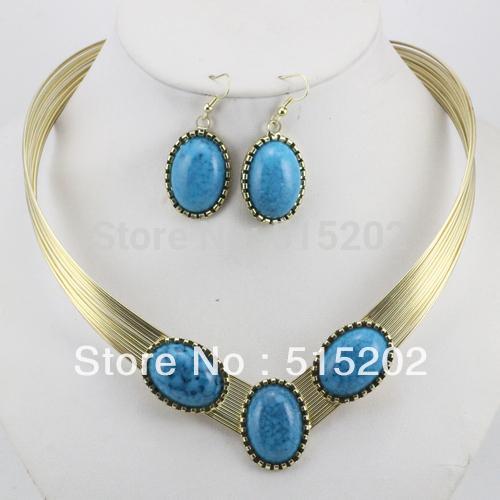 Mode Türkis Schmuck Set personalisierte afrikanische Halskette für Frauen LM_S036 FREE SHIPPING