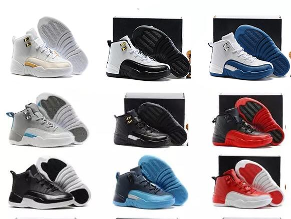 Новый 12 Серый Розовый Черный Белый Дети Баскетбольная обувь Детская спортивная обувь 12 кроссовки Скидка Детская мода тренер для мальчиков девочек