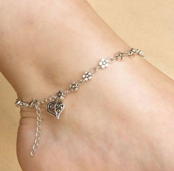 12 шт./лот ретро Тибетский серебряный полые серебряный сливы цветы ног украшения персик в форме сердца ножной браслет