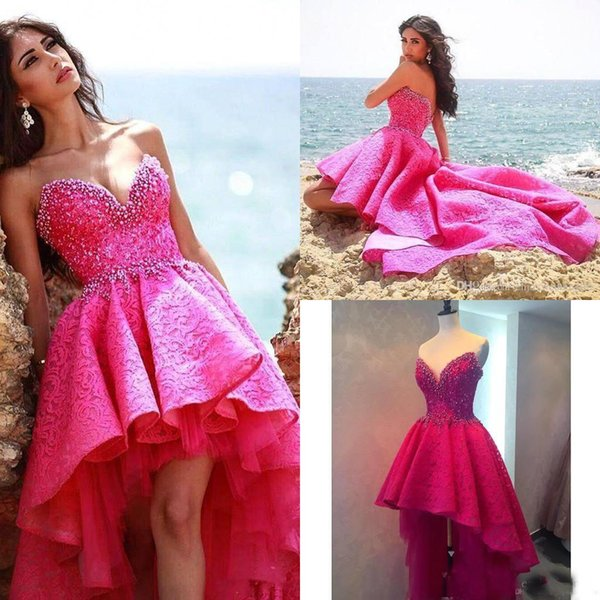 2018 Latest Hot Pink High Low Prom Dresses With Beading Sweetheart ...