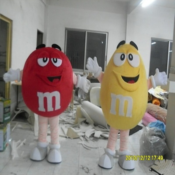 M&M Chocolate Candy red Mascot Costume !factory direct, free shipping !