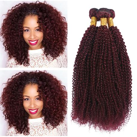 """#99J Wine Red Virgin Human Hair Extensions 3Pcs Kinky Curly Brazilian Burgundy Human Hair Weave Bundles Tight Curly Double Wefts 10-30"""""""