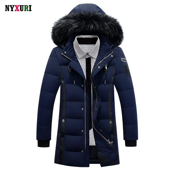 Wholesale- New 2016 Down Coat Luxury Men Casual Hooded Solid Color 90% White Duck Down Parkas Warm Long Male Winter Jacket Fur Plus Size
