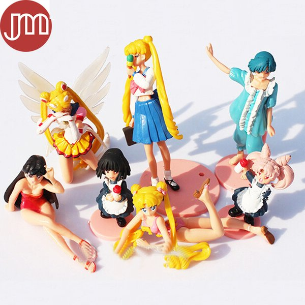 New 7pcs Sailor Moon Mars Jupiter Venus Mercu Action Figure Toy Anime Figurines Statues Cartoon Model Brinquedos Kid Gift Doll