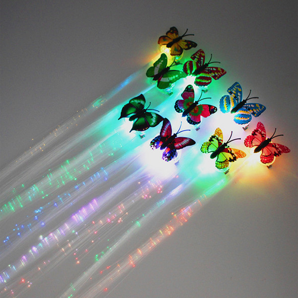 best selling Butterfly Flash Hair LED Braid Women Colorful Luminous Hair Clips Fiber Hairpin Light Up Party Halloween Night Xmas Decor Button Battery