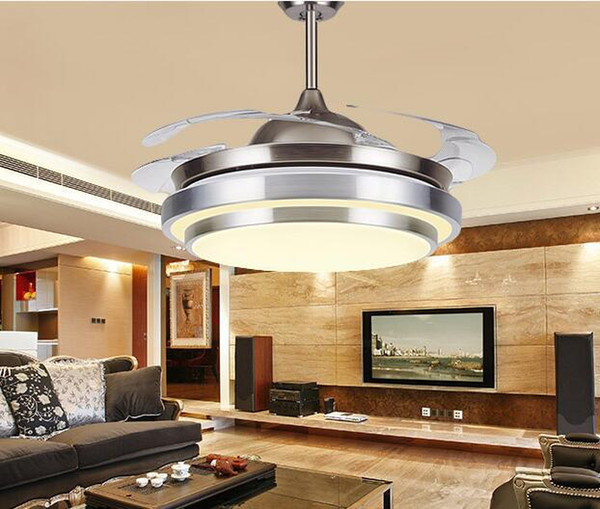 "top popular 31 8 9"" Modern Chrome Round Shaped LED Ceiling Fan Lights with Foldable Invisible Blades 100-240v invisible ceiling fans led light 2021"