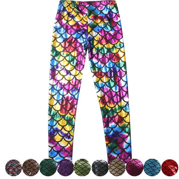 Wholesale- LOVE SPARK 12 Colors Mermaid Cosplay Kids Sports Leggings 3 To 10 Years School Girls Yuga Running Loose Pants Hot Sales