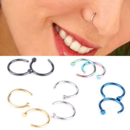 Women Nose Rings Body Piercing Jewelry Fashion Jewelry Stainless Steel Nose Open Hoop Ring Earring Studs Fake Nose Rings Non Piercing Rings