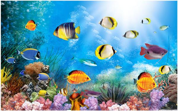 3d papel de parede personalizado foto não-tecido mural oceano azul peixe no mundo decoração pintura 3d murais de parede papel de parede para paredes 3 d sala de estar