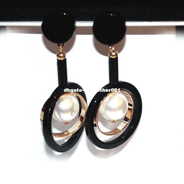 2017 New Black Statement orecchini lunghi per le donne Bijoux placcato oro simulato perla gioielli regalo fine