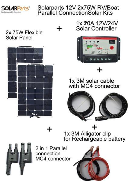 Solarparts 2x75W DIY RV/Boat Kits Solar System flexible solar panel 1x 10A solar controller 1 set 3M MC4 cable 1 set clip